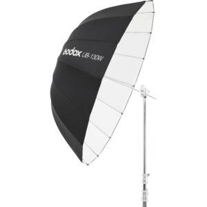 Godox UB-130W je kišobran bele unutrašnjosti i velikog prečnika od 130 cm. Idealan je kod portreta ili grupnih fotografija. Parabolicni oblik i bela unutrasnjost obezbedjuju veoma mekano svetlo kojeće uspešno stići i na veće udaljenosti. Ovaj kisobran se moze koristiti kao glavno ili kao fill svetlo.