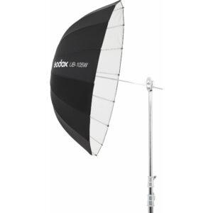 Godox UB-105W je kišobran bele unutrašnjosti i velikog prečnika od 105 cm. Idealan je kod portreta ili grupnih fotografija. Parabolicni oblik i bela unutrasnjost obezbedjuju veoma mekano svetlo koje će uspešno stići i na veće udaljenosti. Ovaj kisobran se moze koristiti kao glavno ili kao fill svetlo.